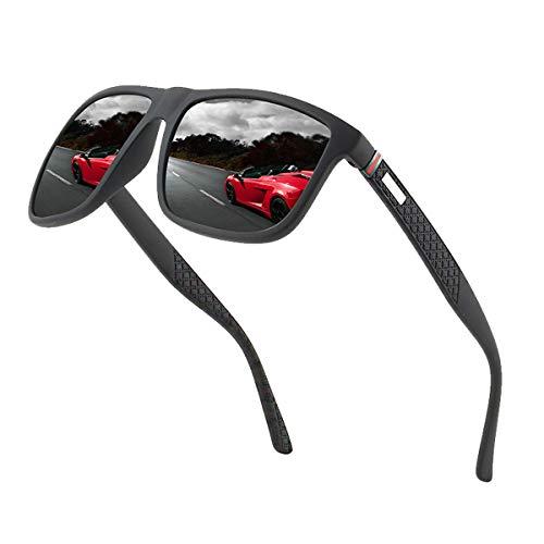 Perfectmiaoxuan Polarisierte Sonnenbrille Herren/Damen ; Vintage/Klassisch/Elegant Brillengestell; HD-Pilotobjektive; Golf/Fahren/Angeln/Reisebrille/Outdoor-Sportarten Mode Sonnenbrille (【A1】Schwarz)