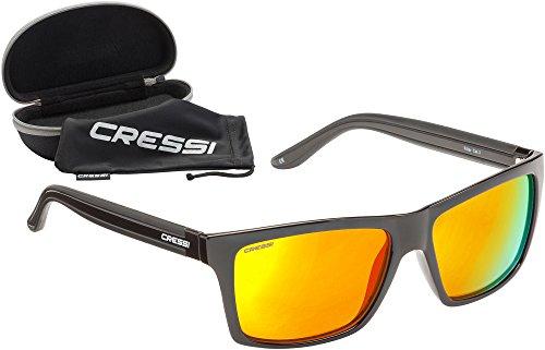 Cressi Unisex-Erwachsener Rio Sunglasses Premium Sport Sonnenbrille Polarisierte 100% UV-Schutz, Brillengestell Schwarz-Gelb Linsen, Einheitsgröße