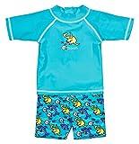 Landora® Baby- / Kleinkinder-Badebekleidung 2er Set mit UV-Schutz 50+ und Oeko-Tex 100 Zertifizierung in türkis; Größe 62/68