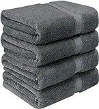 Utopia Towels - 4er Pack Badetuch Set Badetücher aus Baumwolle 600 g/m² - 69 x 137 cm (Grau)
